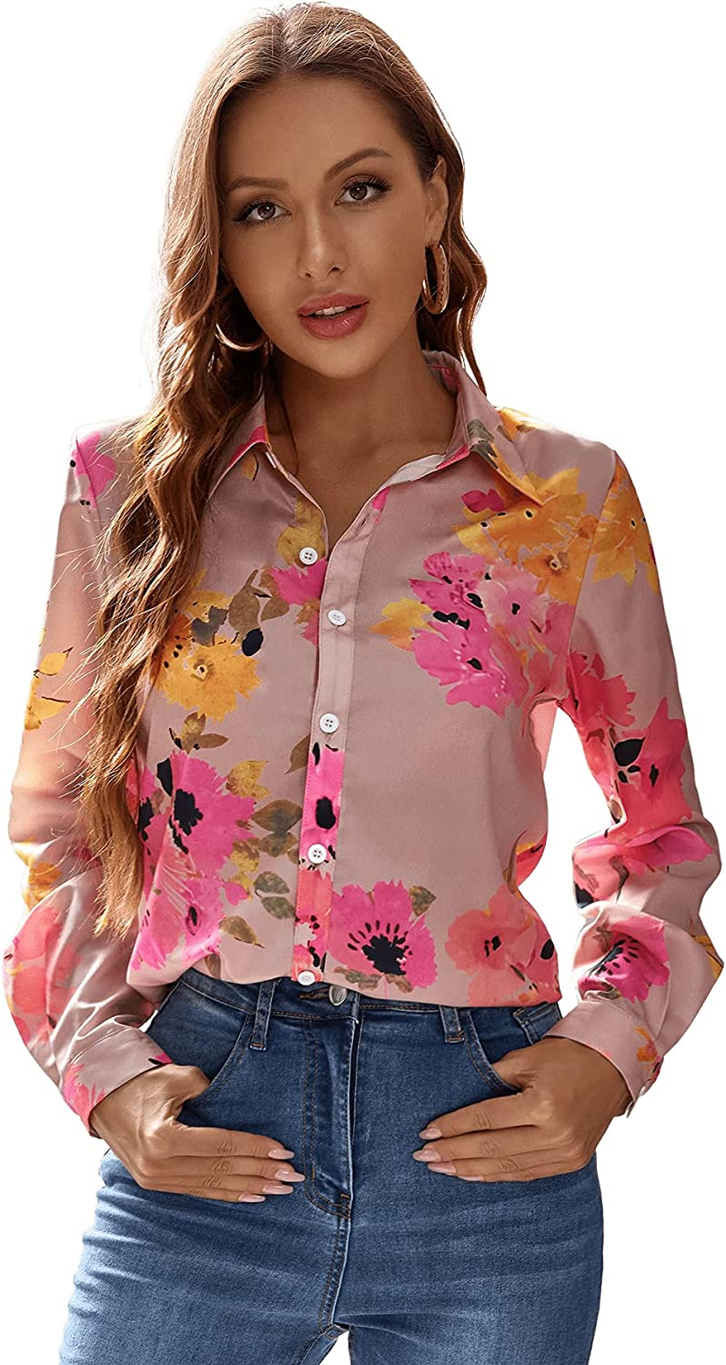 Floerns Women's Casual Button Down Long Sleeve Floral Blouse Shirt Tops