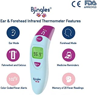 Bjingles Digital Ear and Forehead Infrared Medical Thermometer - Ideal to Check Fever for Baby,  Infant, Toddler,  Kids and Adults -FDA & CE Approved