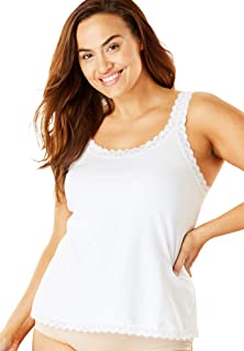 Women's Plus Size Lace-Trimmed Stretch Cotton Camisole