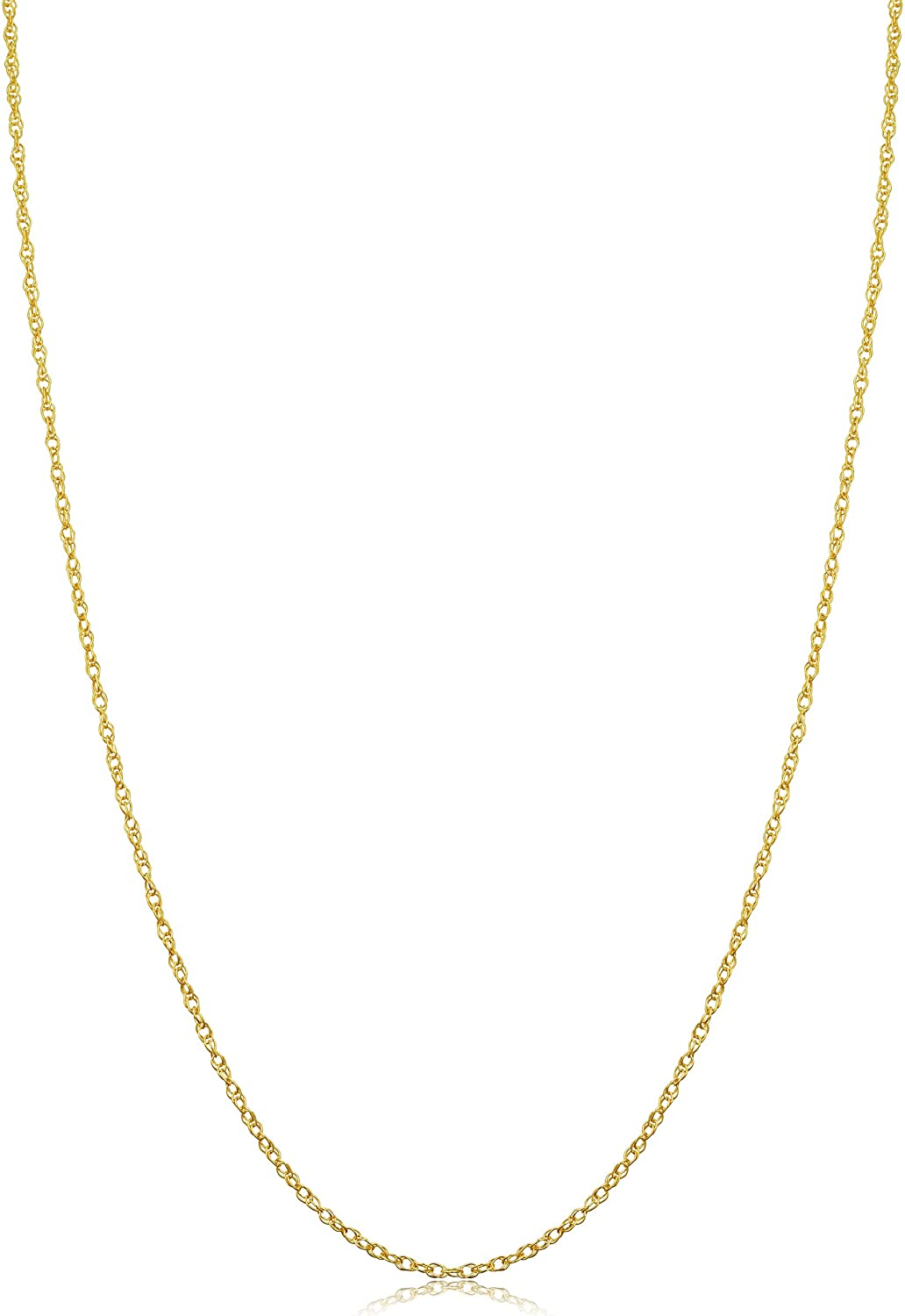 10k Yellow Gold Rope Chain Barely-there Necklace (0.7 mm, 0.9 mm, 1 mm or 1.3 mm) - Thin And Lightweight