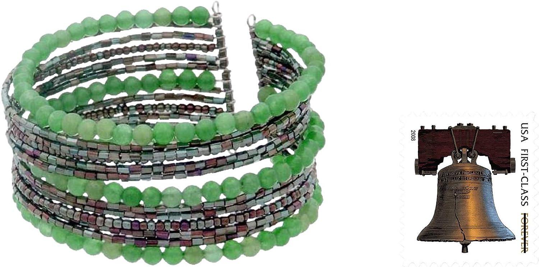 NOVICA Quartzite Stainless Steel Cuff Bracelet, Tantalizing Green'