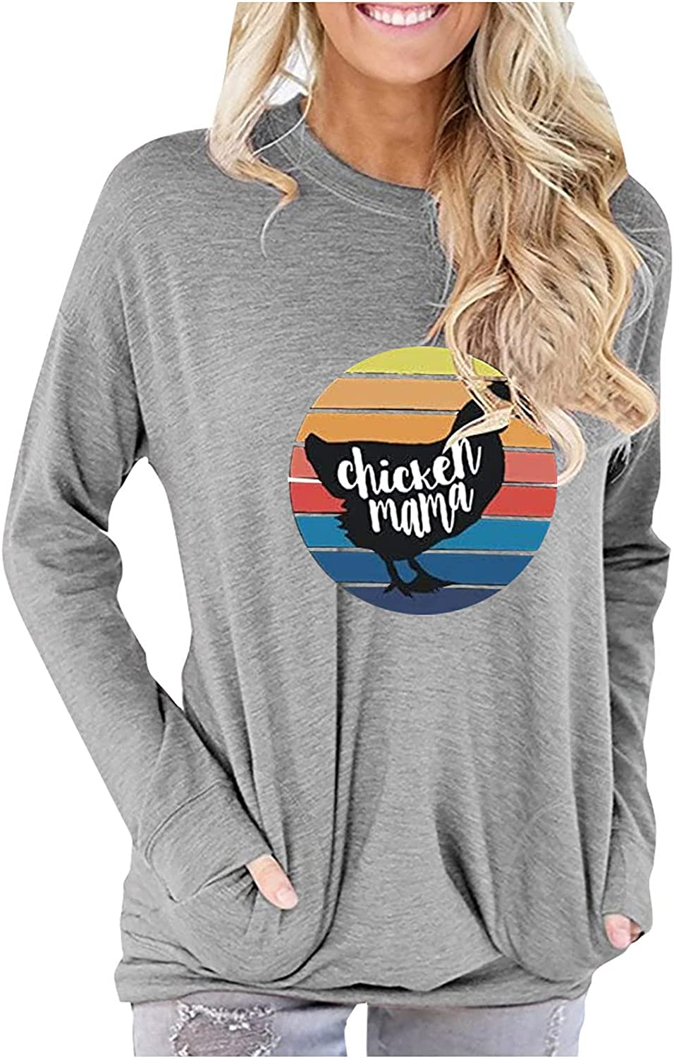 GERsome Casual Crewneck Sweatshirts for Women Rooster Print Long Sleeve Pocket Shirts Fashion Loose Plus Size Pullover Blouse