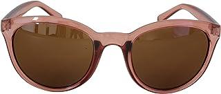 Foster Grant STU14336 FG112 Women's Rounded Full Frame Sunglasses Clear Pink Plastic Frame & Arms Brown UV400 Lenses 100% UV Protection CAT 2