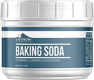 Baking Soda (32 oz) Reusable Tub, Natural Antacid, Cooking & Baking, Cleaning & Deodorizing by Earthborn Elements