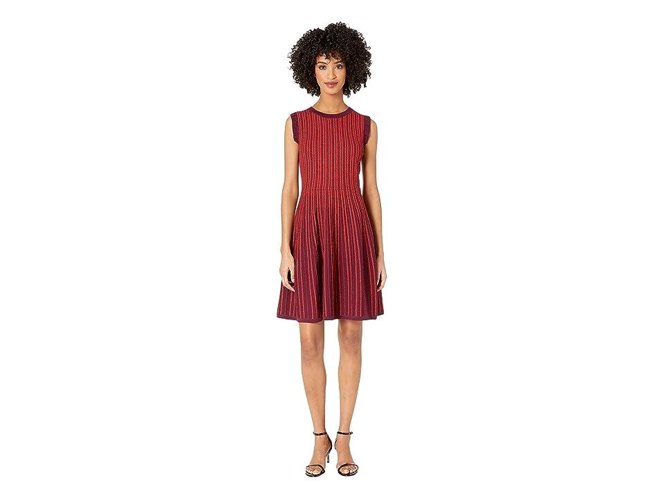Kate Spade New York Dashing Beauty Textured Sweater Dress (Deep Cherry) Women