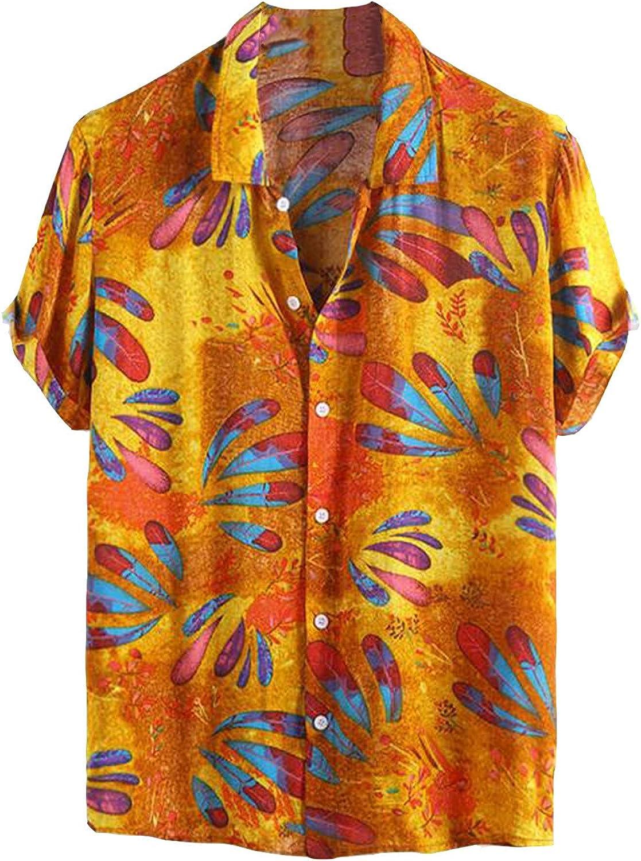 Men's Casual Button Down Floral Shirt Tropical Short Sleeve Hawaiian Print Shirt Beach Vacation Shirts Tops