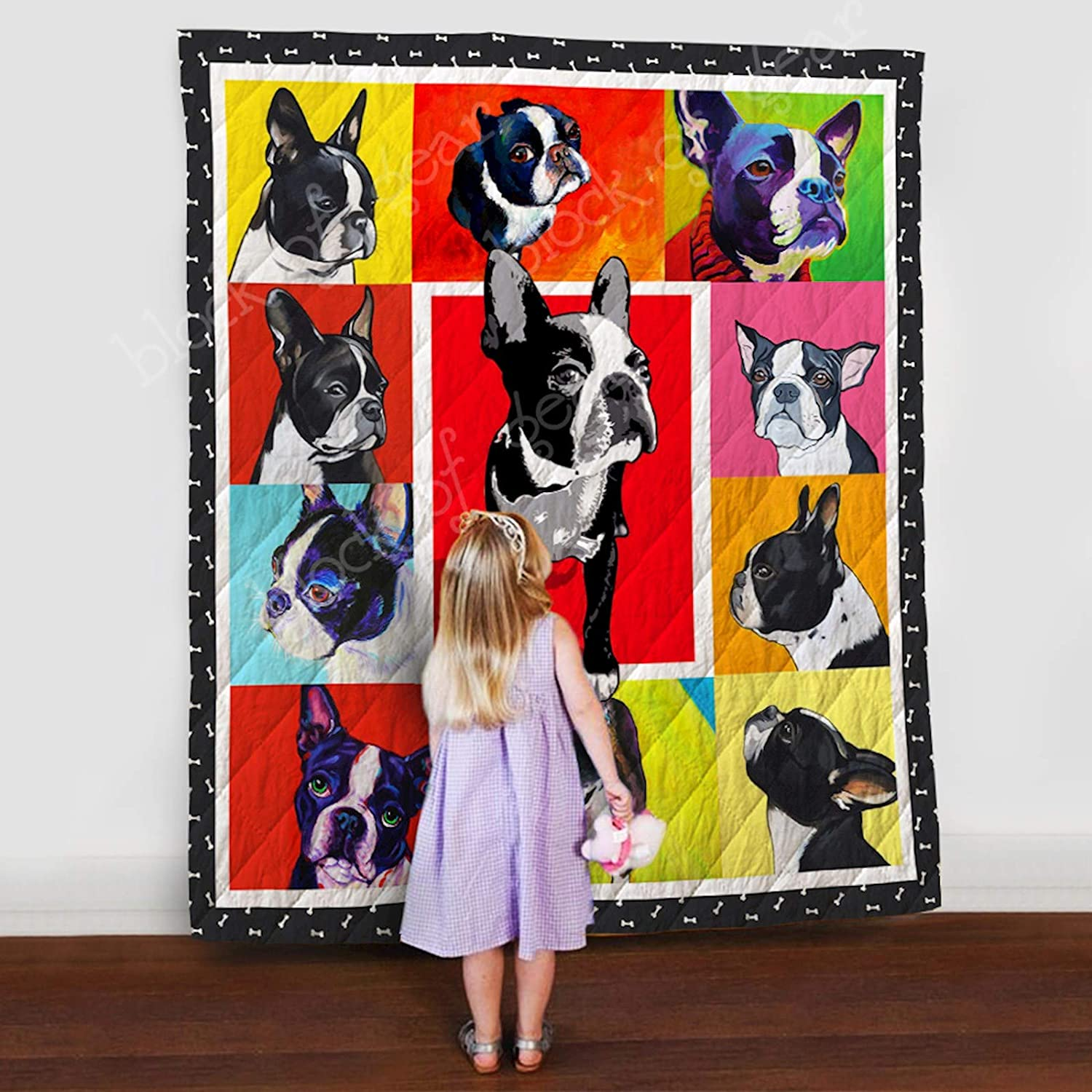 Boston Terrier Quilt Th564b, Queen All-Season Quilts Comforters with Reversible Cotton King Queen Twin Size - Best Decorative Quilts-Unique Quilted for Gifts