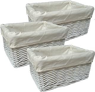 Jaffa Imports WHITE WICKER Rectangular Baby Storage Gift Basket Hampers with CREAM Cotton Lining  24cm 18cm 12cm high