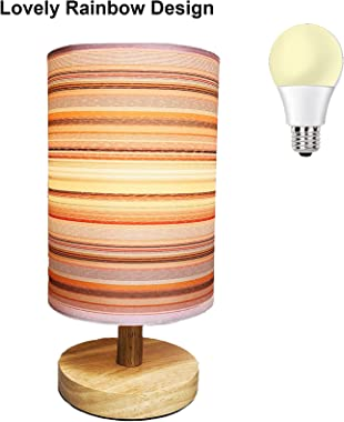 AFORTLO Table Desk Lamp, Small Cute Decorative Nightstand Night Light Solid Wood Base Lamp for Bedroom,Living Room,End Table