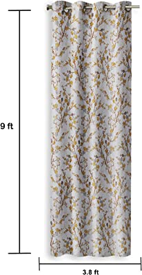 Amazon Brand - Solimo Mezzo Polyester Curtain, Long Door, 9 feet (2.74 m), Brown, Pack of 2