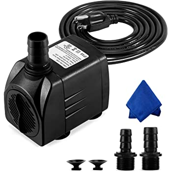 CWKJ Fountain Pump, 400GPH Submersible Water Pump, Durable 25W Outdoor Fountain Water Pump with 6.5ft Power Cord, 3 Nozzles for Aquarium, Pond, Fish Tank, Water Pump Hydroponics, Backyard Fountain