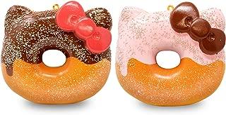 Hamee Hello Kitty Big Donut Cute Squishy Ball Chain for Kids, 2-Piece Set [Chocolate Glazed, Strawberry Glazed]