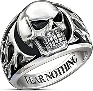 MYLYAHY Skull Biker Punk Rings for Men Stainless Steel/Alloy Cool Bar Party Halloween Party Rings Jewelry Size 7-14