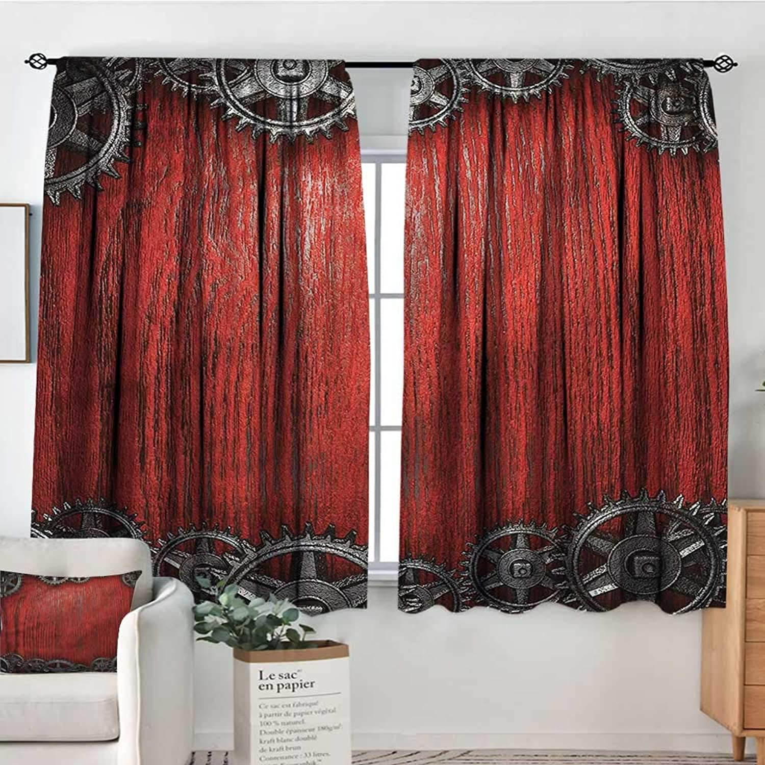Sanring Industrial,2 Curtain Panes Gear Wheels on The Wood 42 X63  Drapes for Iving Room