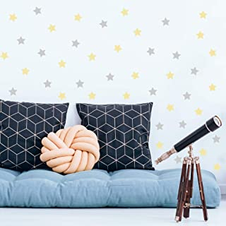 """Stars Wall Decals 54 pcs Peel and Stick 2x2"""" Yellow and Grey - Rooms and Stickers"""