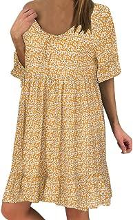 Fannyfuny/_Mujer Vestidos Verano Ropa Mujer Falda Corta Vestidos Casual Vestidos de Fiesta Sin Mangas de Estampado de Raya de Gasa Falda con Volante Irregular Vestido Playa Vacaciones