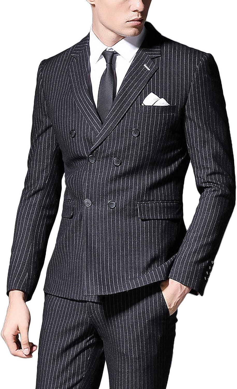 Wemaliyzd Men's 2 Pieces Regular Fit Business Suit Lapel Lapel Blazer Pants