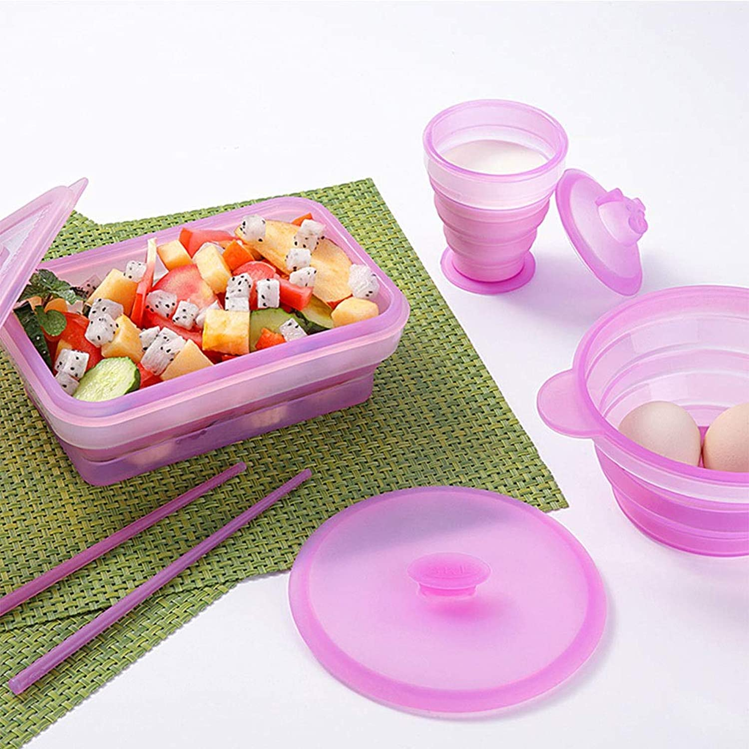Folding bowl Cup Folding Lunch Box Chopsticks Portable Travel Set Outdoor Water Cup Student Tableware (color   Pink)