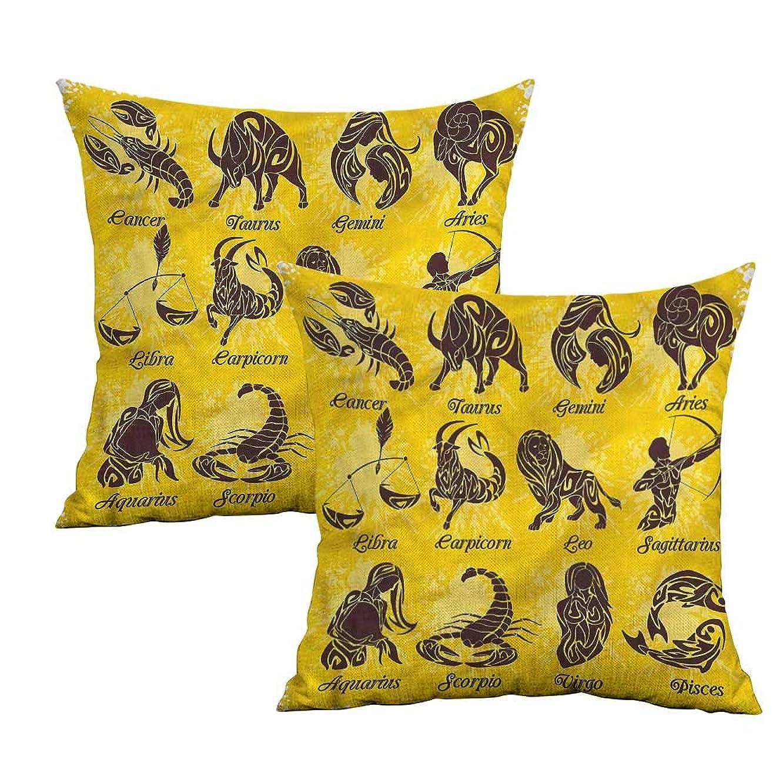 Khaki home Zodiac Square Kids Pillowcase Grungy Zodiac Signs Square Kids Pillowcase Cushion Cases Pillowcases for Sofa Bedroom Car W 20