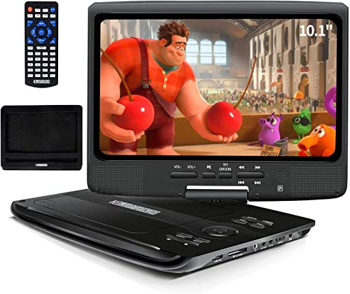 """HDJUNTUNKOR Portable DVD Player with 10.1"""" HD Swivel Display Screen, 5 Hour Rechargeable Battery, Support CD/DVD/SD C..."""