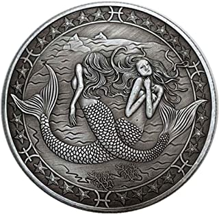 Gjiner 12 Constellations Copper-Plated Silver Relief Commemorative Old Antique Lucky Silver Coins Love Mermaid Sun God Silver Dollar(with Exquisite Box) Pisces