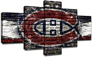 Montreal Canadiens Wall Decor NHL Team Logo Art Paintings 5 Piece Canvas Picture Ice Hockey Artwork Living Room Prints Poster Home Decoration Wooden Framed Ready to Hang(60''Wx32''H)
