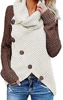 Aleumdr Maglione Donna con Dettagli Bottoni Pullover Orlo Asimmetrico Sweater per Autunno e Inverno