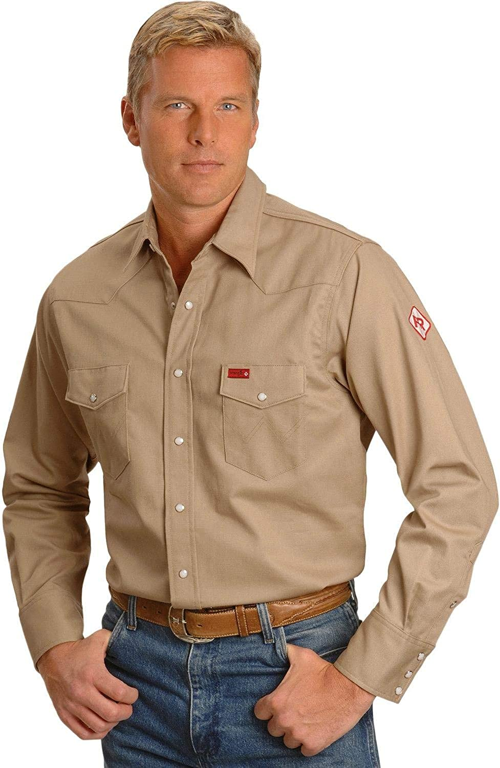 Wrangler Riggs Workwear mens FR Flame Resistant Western Long Sleeve Two Pocket Snap Shirt