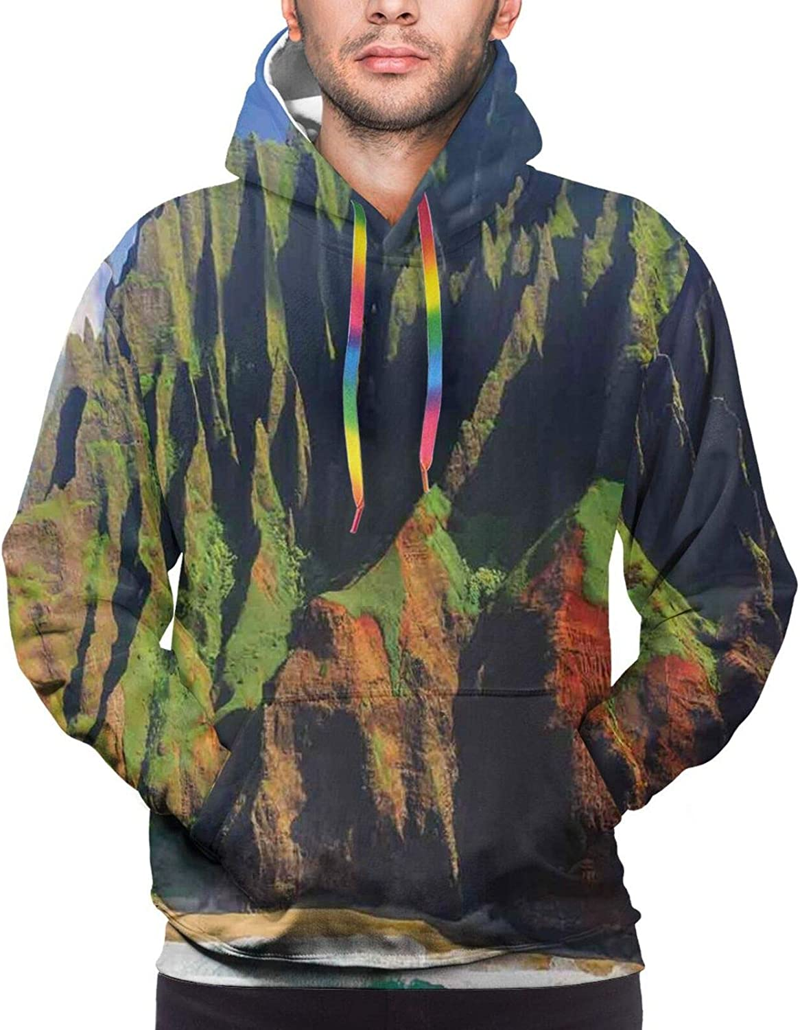 Men's Hoodies Sweatshirts,Aerial View of Famous Asian Building On Top of The Mountain Horizon Mystery Scenery