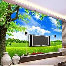 Custom Mural 3D Wallpaper Blue Sky White Cloud Tree Scenery Living Room Tv Sofa Background Non-Woven Straw 3D Wallpaper Decor Mural,250x175cm