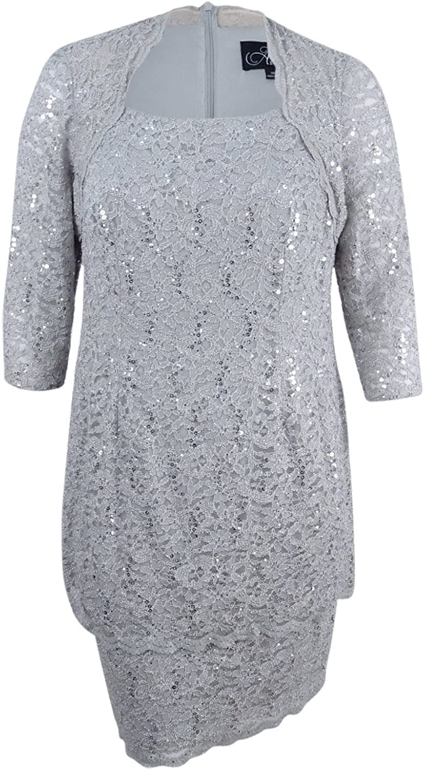 Alex Evenings Womens Plus Tiered Sequined Mother of The Bride Dress