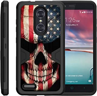 TurtleArmor | Compatible with ZTE ZMax Pro Case | ZTE Blade X Max Case [Clip Caliber] Protective Armor Hard Impact Shockproof Case Kickstand Holster Belt Clip - US Flag Skull