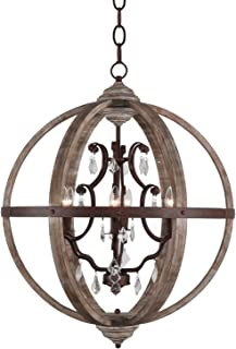 Vintage Wood Metal Chandelier Pendant 6- Light Wooden Orb Crystal Chandeliers Hanging Ceiling Mount Pendant Lamp Home Decor Light, Rustic Color