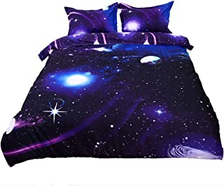 uxcell Full/Queen 3-Piece Galaxies Purple Comforter Duvet Cover Sets - 3D Printed Space Themed - All-Season Reversible Design - Includes 1 Duvet Cover, 2 Pillow Shams