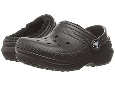 Crocs Kids Classic Lined Clog (Toddler/Little Kid) (Black/Black) Kids Shoes