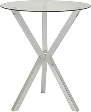Round Pub Table with Glass Top and X-Shaped Base Chrome and Clear