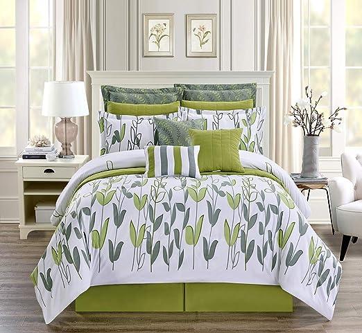 Amazon.com: 9 Piece Twin Size Vine Print Luxury Allen Bedding Sage