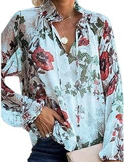 Women Floral Print V Neck Shirts Long Sleeve Boho T-Shirt