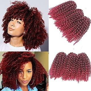 3pcs/pack Marley bob Kinky Curl 8 Inch Afro Kinky Twist Hair Soft Synthetic Crochet Braiding Hair Extention (1B/BURG)