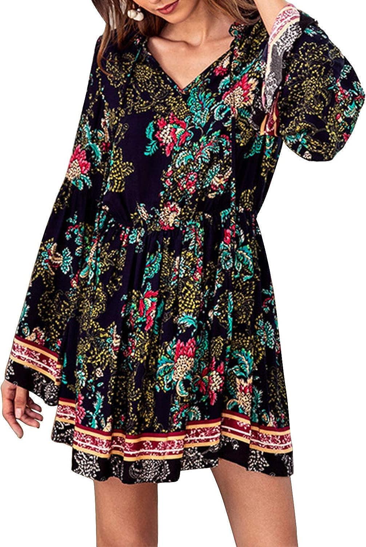 MISSKERVINFENDRIYUN YY4 Women's VNeck Long Sleeve Floral Printed Elastic Waist Mini Dress