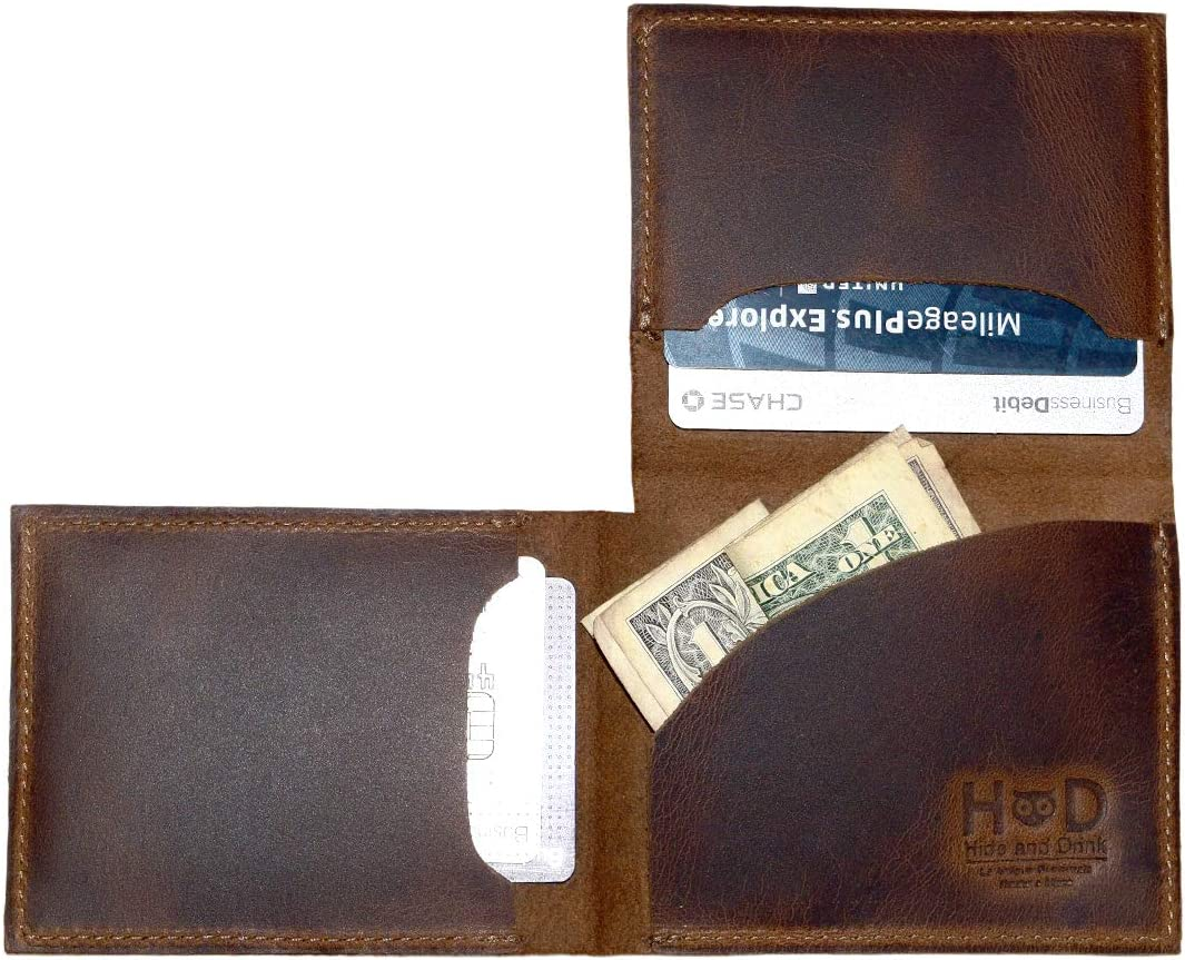 Hide & Drink, Leather Trifold Wallet, Holds Up to 6 Cards Plus Folded Bills / Minimalist / Front Pocket / Travel / Case / Stylish / Vintage, Handmade :: Bourbon Brown