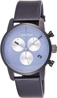 ساعة كوارتز بعرض كرونوغراف بسوار جلدي للرجال من كالفن كلاين، باللون الرمادي، طراز K2G177C3
