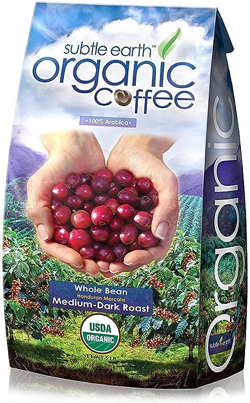 Cafe Don Pablo 5LB Subtle Earth Organic Gourmet Coffee Medium Dark Roast Whole Bean Coffee USDA Certified Organic Arabica Coffee 5 Lb Bag