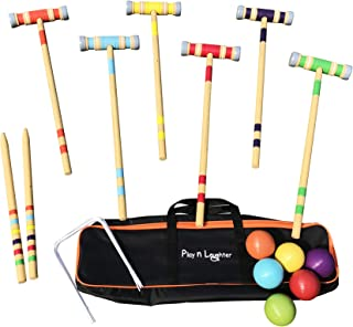 Play N Laughter 6 Player Croquet Set with Carrying Bag for Kids & Family