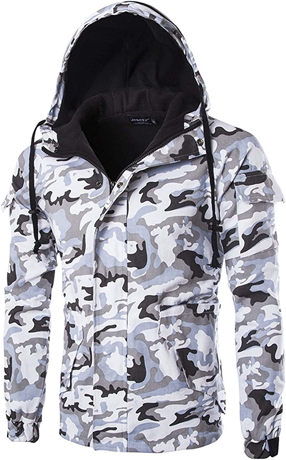 XXBR Camo Hooded Coat for Mens, Fall Winter Zipper Button Casual Warm Thick Sweatshirts Sports Camouflage Jackets