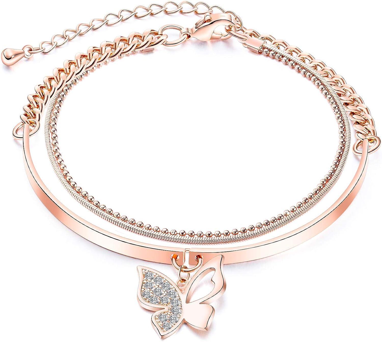 Fashion Ahead Women's Multi-Layers Link Charms Bracelet CZ Crystal Filled Love Key Butterfly Hamsa Hand Evil Eye Pendant Charms Rose Gold Chain Adjustable Bracelet