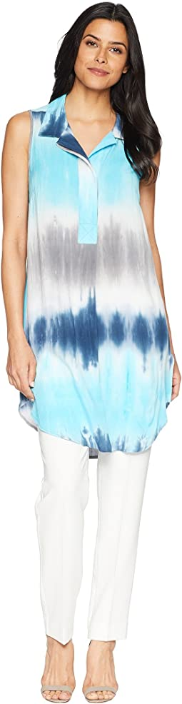 Printed Rayon Notch Collar Sleeveless Tunic