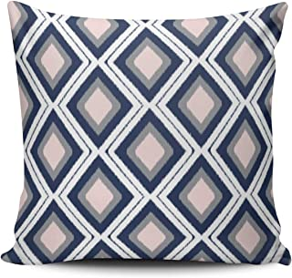 ONGING Decorative Throw Pillow Case Pink Gray and White Blush and Navy Diamond Ikat Pattern Pillowcase Cushion Cover One Side Design Printed Square Size 18 x 18 inch