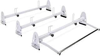 AA-Racks Model RX27 Fullsize Steel Three-Bar Van Ladder Roof Racks With Middle Adjustable Bar and Cargo Roller - White