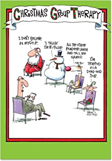 NobleWorks, Group Therapy - 12 Funny Christmas Cards with Envelopes - Humorous Bulk Boxed Set of Merry Xmas Greetings with Santa, Reindeer, Elf B5799